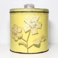 Vintage 1950s Krispy Kan Metal Tin Canister | 50s Kitchen Decor Yellow Unique Unusual Advertising Snack Container