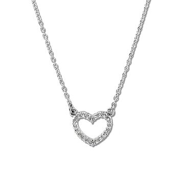 1/8 cttw Platinum Diamond Heart Necklace