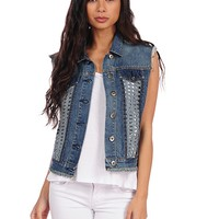 Vintage Havana Denim Braided Back Vest