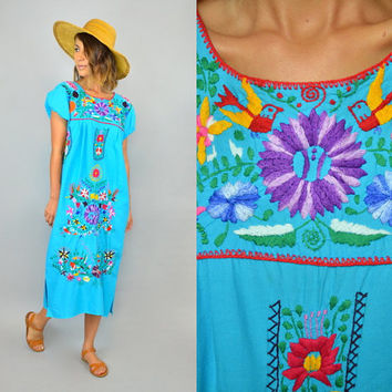 TURQUOISE OAXACAN multicolored mexican ethnic vtg 70s boho hippie caftan DRESS, extra small-medium