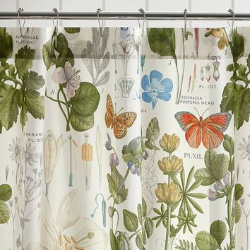 POPPY BOTANICAL PRINT SHOWER CURTAIN