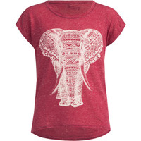 Full Tilt Ethnic Elephant Girls Tee Burgundy  In Sizes