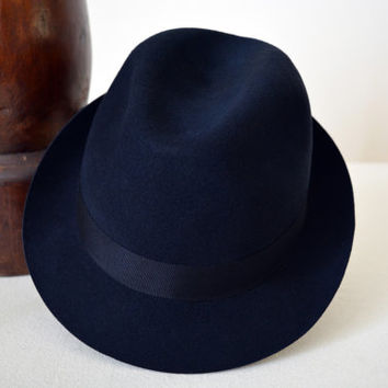 Navy Blue Wool Felt Trilby - Narrow Brim Pure Merino Wool Felt Handmade Trilby Fedora Hat - Men Women