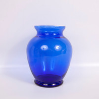 Vintage Cobalt Blue Glass Vase Large Flower Vase Centerpiece Arrangement Holder Window Display Hand Blown