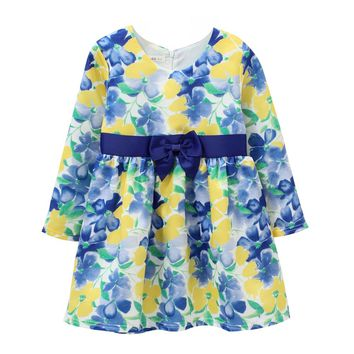 Party Dress Princess Girls Fall Dresses 2017 Brand Clothes Kids Costumes Flower Dress 1-12T Children With Ribbon CDW15021