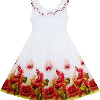 Girls Dress Sunflower Garden Turn-down Collar Sleeveless 2018 Summer Princess Wedding Party Dresses Children Clothes Size 4-12