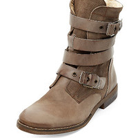 Light Brown Suede Buckle Strap Shearling Lined Boots