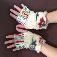 Upcycled Fingerless Gloves Pastel Cream Red Green Armwarmers Recycled Wrist warmers Stripe Gloves Knit Gloves Fingerless Mittens