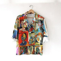 Vintage Picasso Shirt. Colorful Cubism Artsy Top.