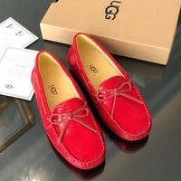 UGG Autumn Popular Women Men Casual Leather Single Shoes Red