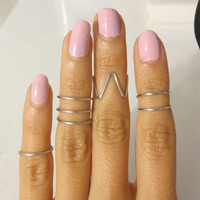 Choose 2 - Silver Mid Midi Middle Finger, Above the Knuckle Wire Wrap Rings - Aluminum Stack double triple wrap Chevron trendy style