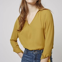 Long Sleeve Cowl Collar Blouse