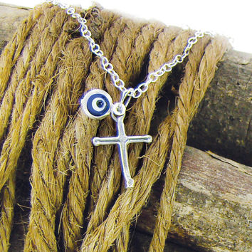 Silver Cross Necklace, Sterling Silver Evil Eye Pendant, Blue Eye Charm Necklace