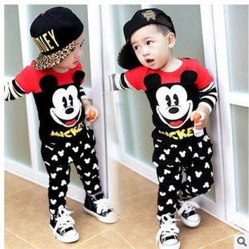 Children's mickey cartoon autumn outfit boys suit Children long sleeve cotton baby clothes 0 to 3 years old