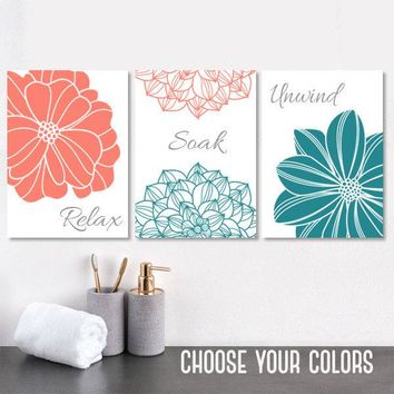 Coral Teal BATHROOM Wall Art, CANVAS or Prints, Flower Bathroom Pictures, Relax Soak Unwind, Coral Teal Bathroom Quotes, Set of 3 Pictures