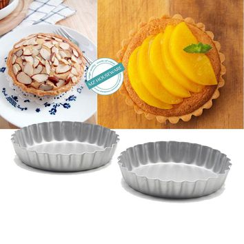 8 pieces/lot, Non-Stick Carbon Steel Mini Tart Pans, round flower edge mini cake pan,4-Inch Diameter, free shipping