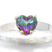 1 Carat Genuine Mystic Topaz Heart Ring .925 Sterling Silver Rhodium Finish White Gold Quality