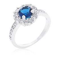 Belle Sapphire Blue Halo Engagement Cocktail Ring | 2.5ct | Cubic Zirconia | Silver