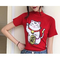 Women Cute Lucky Cat Embroidery Turtleneck Short Sleeve Knitwear Tops