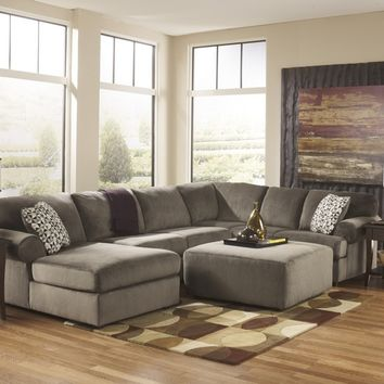 3 pc jessa place ii collection dune fabric upholstered sectional sofa with chaise and rounded arms