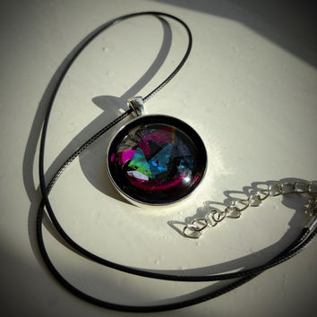 Geometric Colour Stone Necklace / Funky / Retro / Holographic / Mood / Resin