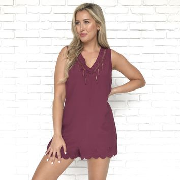 Purple Scallop Romper