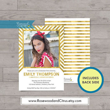 Geometric, Faux Gold Graduation Photocard, Graduation Announcement, Graduation Party Invitation, Graduation Invitation Printable, Grad Party