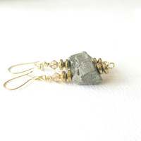 Pyrite Dangle Earrings - Gold - Pyrite Earrings - Everyday