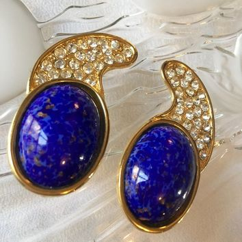 Amazing Vintage French Oversized 80'S Runway Lapis Gripoux Diamanté Long Clip On Big Bling High Fashion Earrings