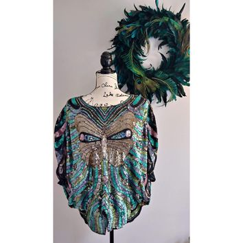 Women's Vintage 1970's Butterfly Sequin Top