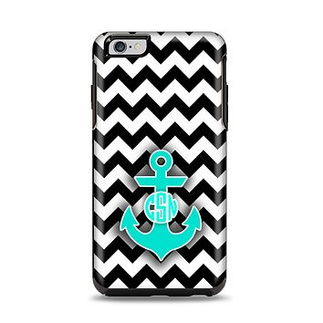 The Teal Green Monogram Anchor on Black & White Chevron Apple iPhone 6 Plus Otterbox Symmetry Case Skin Set
