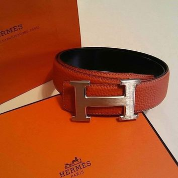 90CM Orange MENS HERMES BELT W/SILVER H BUCKLE