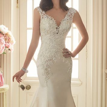 Beaded Lace Open Back Gown by Sophia Tolli