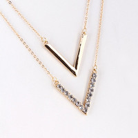 Double Chevron Rhinestone Necklace - Gold or Silver