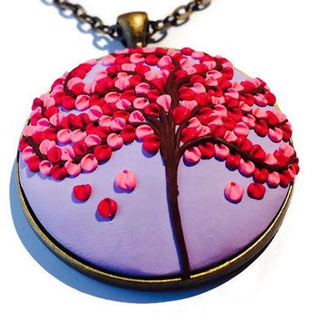 Cherry Blossom Necklace Lavender Sakura Necklace Mother Day Necklace Gift Pink Blossom Pendant Lavender Tree Of Life Spring Jewelry Charm