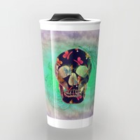 Colorful Hand Drawn Skull with Butterflies on Canvas Travel Mug by Perrin Le Feuvre | Society6