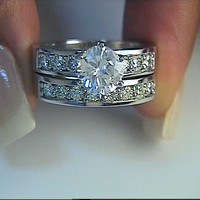 2.77ct Round Diamond Engagement & Wedding Ring 18kt White Gold JEWELFORME BLUE
