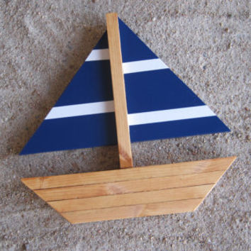 Navy Blue and White Striped Sailboat with Stained Wood Detail Wall Hanging Beach Nautical Ocean Coastal Theme Decor