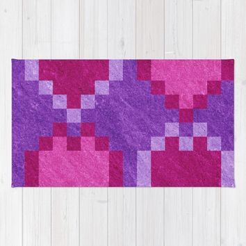 Pink Purple PIxel Hearts Rug by Likelikes | Society6