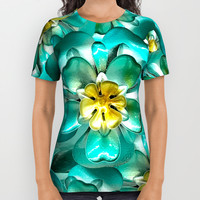 Golden Cyan Greens All Over Print Shirt by deluxephotos