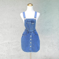 Smooth Criminal - Vintage 90s Stone Washed Denim Overalls Mini Dress/Shorts - Urban Club Kids Suspenders Mini Skorts w high waist - Size 3/4
