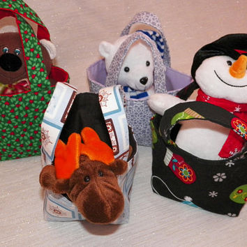 Selection of Holiday Totes Holly Teddy Polar Bear Snow Man or Winter Moose Choose One