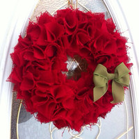 Burlap Christmas Wreath for Front Door