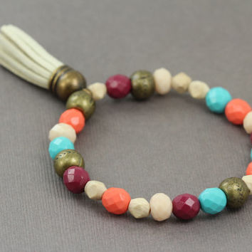 Bohemian Beaded Bracelet : Coral, Teal, Ivory and Maroon Glass Beaded Bracelets, Ivory Leather Tassel, Antique Bronze, Handmade in Canada