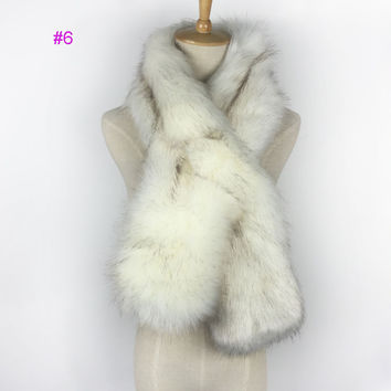 New looking nolvety lady faux fox fur scarf neck warmer pull through infinity scarf for fall winter