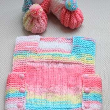 Hand Knitting Baby Girl's Set / Baby Girl's sweater and shoes set / Gift for Baby Girl's Set / Gift for Baby Shower / Ready to Shipping