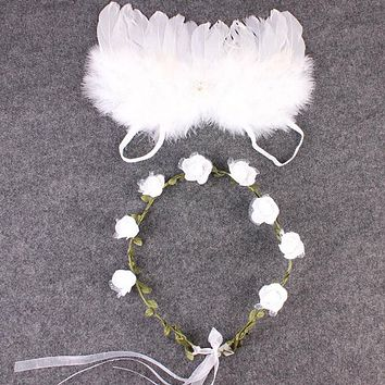 Newborn Photography Props Accessories For Newborn White Angel Feather Wings Leaves Headband Baby Photo Props Shoot