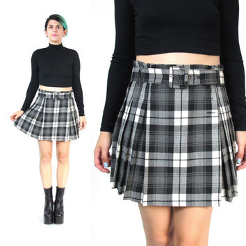 90s Grunge Plaid Mini Skirt Pleated Mini Skirt High Waist Skirt Gray Tartan School Girl Skirt Empire Records Punk Belted Wrap Skirt (M)