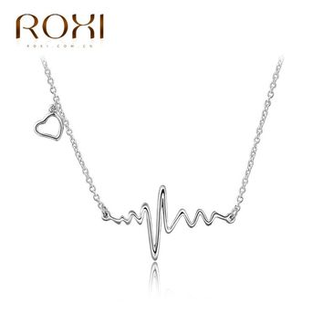 Long Necklace Pendant For Women Fashion Jewelry White Gold Color Sound Waves Pendant Charm Chain Wedding Party Gift