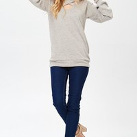 Taupe Soft Scoop Neck Criss Cross Top